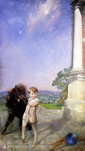 ANNIE-LOUISA-SWYNNERTON-A-Little-Boy-with-a-Shetland-Pony-pet-CANVAS-or-PAPER