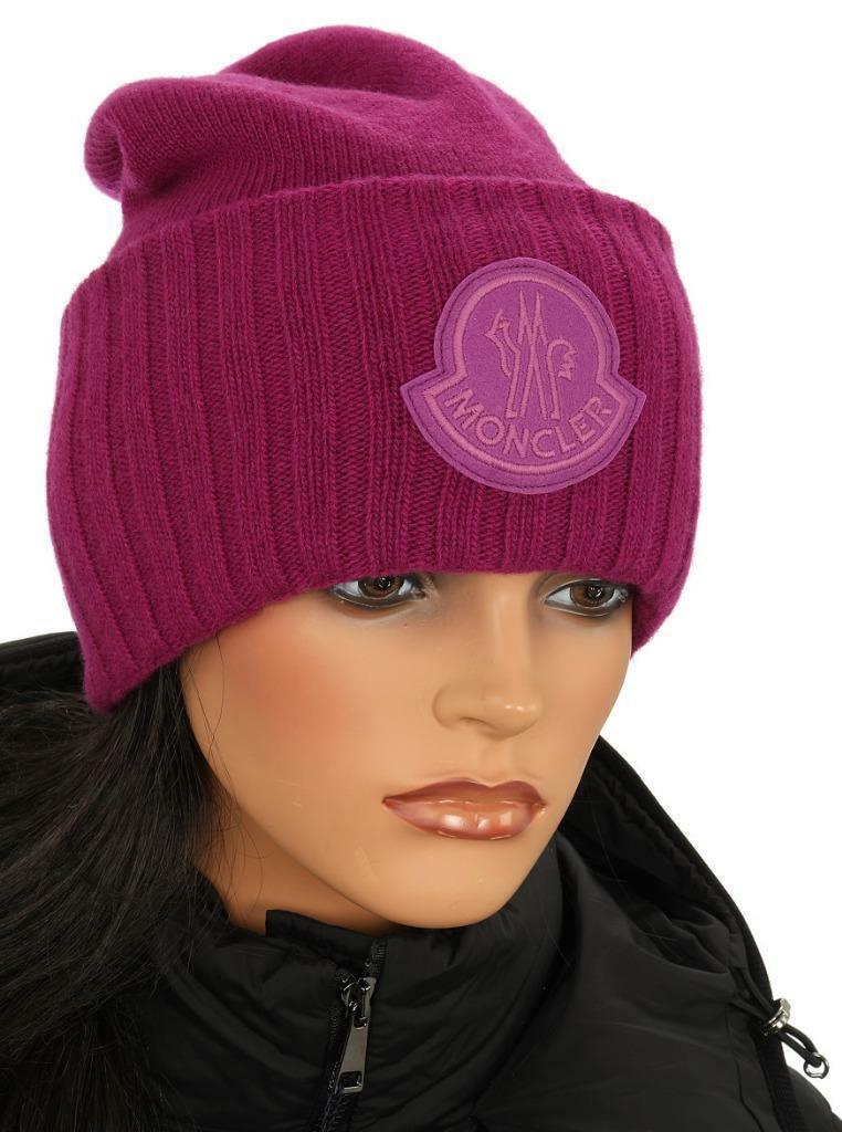 Nuevo Moncler púrpura doble capa 100% Lana Logo Gorro Talla Única