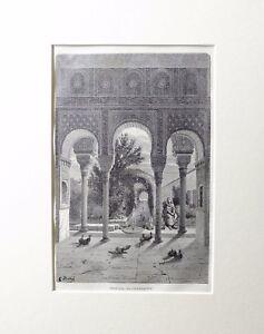 1887-EL-GENERALIFE-DE-GRANADA-Grabado-original-con-passepartout-doble