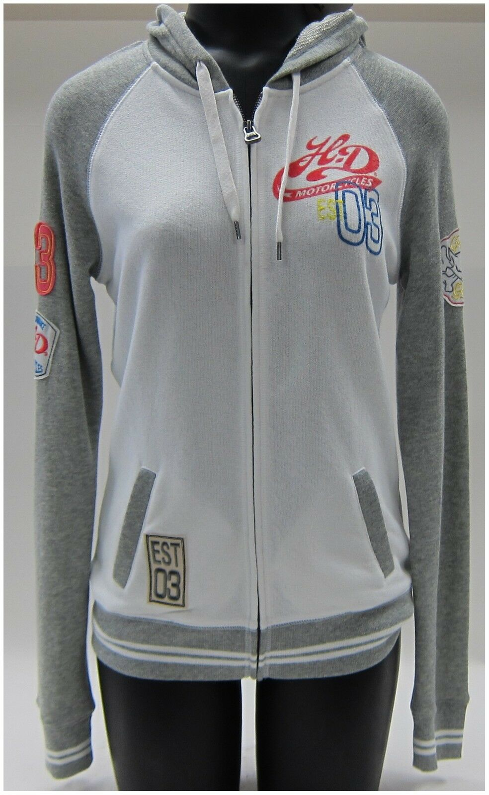 Harley Harley Harley Davidson Ladies Hoodie Size S-Small Long Sleeve Zipper, Front, White-Grey 87a9c8