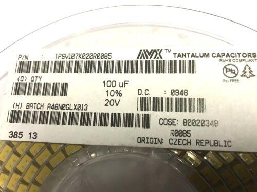 10/% BF = V AVX SMD 100µf 20v TPSV 107k020r0085 4 pezzi 85mr tantalio 100uf