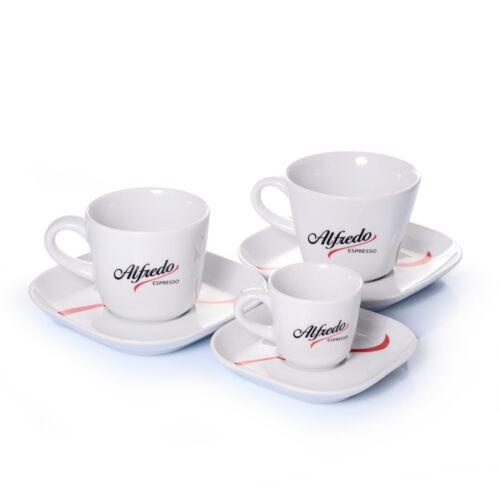 Alfredo Espresso Kaffeegeschirr - 6 teiliges Porzellan Obertasse mit Untertasse