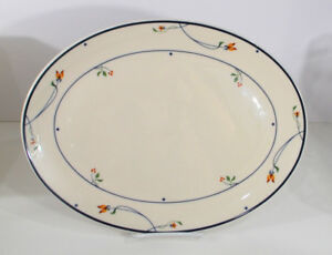 Oval-Platter-14-034-GORHAM-Ariana-Town-And-Country-Pretty-Flowers-Blue-Band