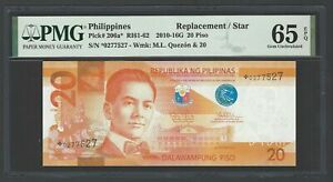 Philippines 20 Piso 2010-16G P206a* Replacement Uncirculated Grade 65