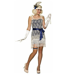 Details About Fler Dress Costume 20s Great Gatsby White Jazz Gold Coast Social