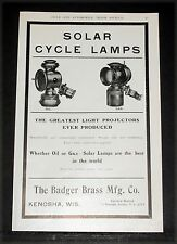 1904 OLD MAGAZINE PRINT AD, BADGER BRASS MFG, SOLAR CYCLE LAMPS, OIL OR GAS!