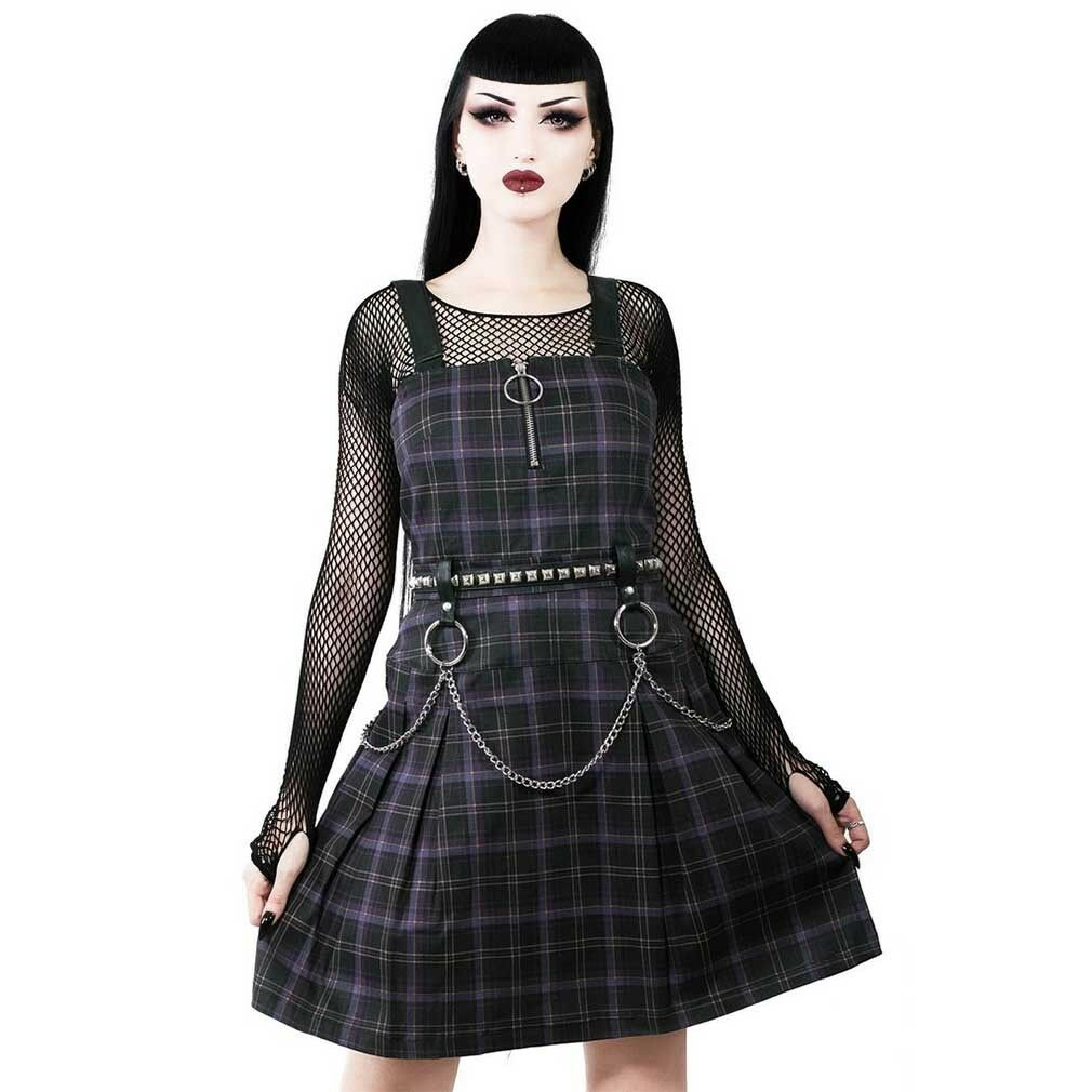 Killstar Gothic Goth Punk Pinafore Kleid Minikleid Latzkleid Regan Kette Tartan