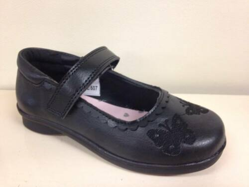 New Girls Chatterbox Black School Formal Shoes Strap Size 8 9 10 11 12 13 Mary
