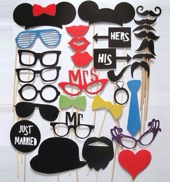 FD1004 DIY Mask Photo Booth Props Mustache Stick Wedding Holiday Party ~31PCs:)