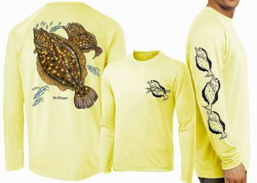 Yellow David Dunleavy DMW8015 Flounder Long Sleeve Tee
