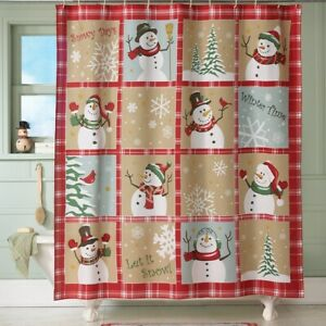 Snow Time Country Snowman Christmas Fabric Shower Curtain
