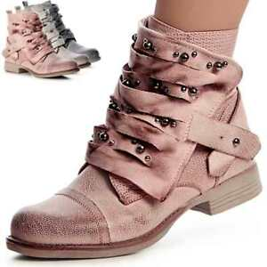 Details zu Damen Biker Worker Boots Stiefeletten Stiefel Booties Nieten Riemchen Blogger