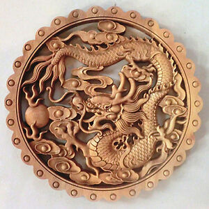 ART-CHINESE-HAND-CARVED-DRAGON-STATUE-CAMPHOR-WOOD-PLATE-WALL-SCULPTURE-NR