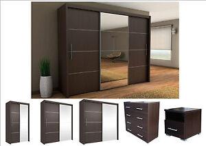 Inova-Sliding-Door-Wardrobe-Wenge-Bedroom-Furniture-Chest-of-Drawers-Bedside