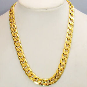 18k-Yellow-Gold-Filled-10MM-Men-039-s-Necklace-24inch-Curb-Link-68g-Chain-GF-Jewelry