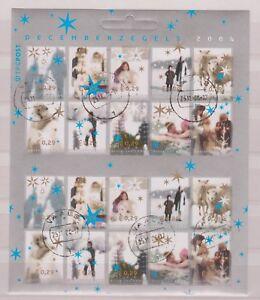 NVPH-Nederland-V-2296-2305-sheet-used-Decemberzegels-2004-Netherlands