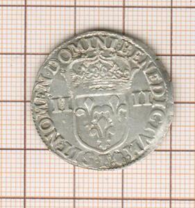 Louis XIII 1/4 Quarter D' ECU IN The Hammer 1643 F