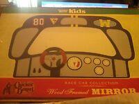 Cracker Barrel 20x12 Race Car Collection Wood Framed Mirror Kids Steeling Wheel