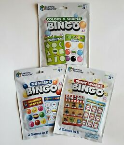 Learning Resources Bingo Lot of 3: Colors & Shapes, Numbers, Sight Words. New