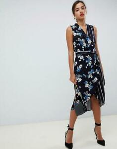 ddb64ae1e780 new oasis navy floral stripe mixed print faux wrap tie waist midi dress ...