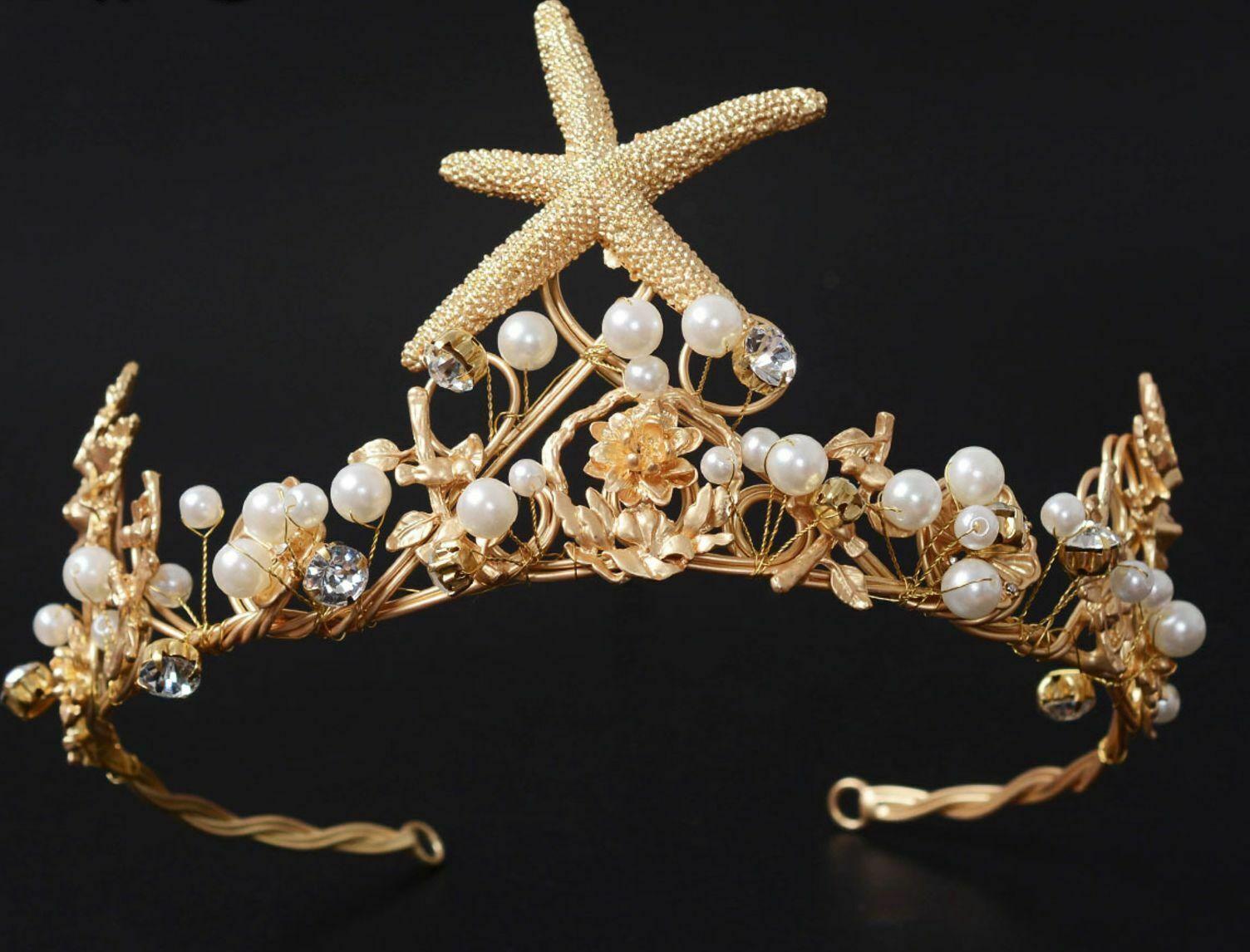 Starfish Pearl Flower Gold Headband Wedding Hair Jewelry Tiara Crown