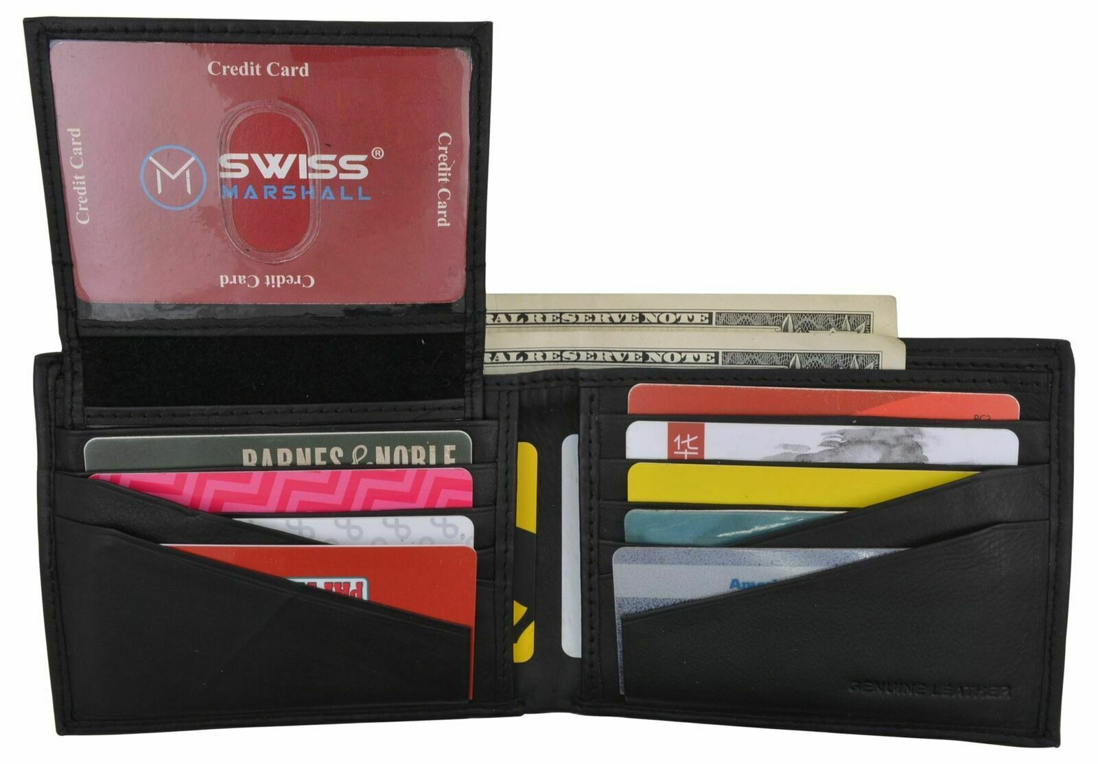 RFID Mens Soft Leather Black Bifold Wallet With Removable Multi-Card ID Holder