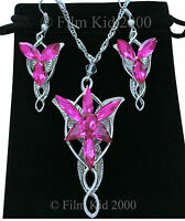 EVENSTAR Silver Necklace + Earrings PINK LOTR Lord Of The Rings Hobbit Arwen