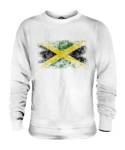 JAMAICA DISTRESSED FLAG UNISEX SWEATER TOP JAMAICAN SHIRT FOOTBALL JERSEY GIFT