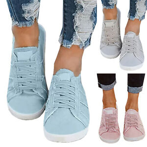 Women-Canvas-Lace-Up-Flats-Comfy-Round-Toe-Casual-Denim-Sneakers-Shoes-Plimsolls
