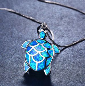 Beautiful-Blue-Fire-Opal-925-Sterling-Silver-Turtle-Necklace-Silver-Chain-50cm