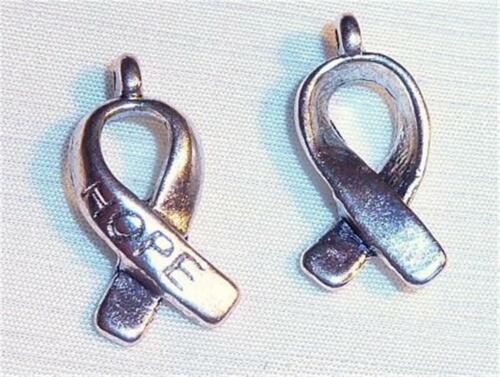 15mm HOPE RIBBONS C175...PACK OF 20 SILVER PLATED CHARMS