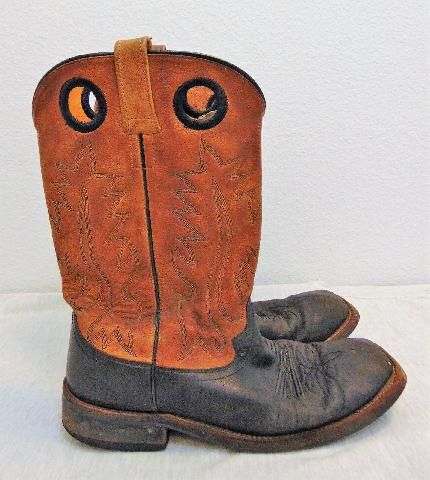 013c6749584f0c Old West Boots Men s Men s Men s 085 D Tan   Black Leather Upper Square Toe  Western Boots cddfab