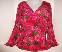 J Jill L Red Autumn Floral Rayon Pullover Tunic Blouse Top Medium