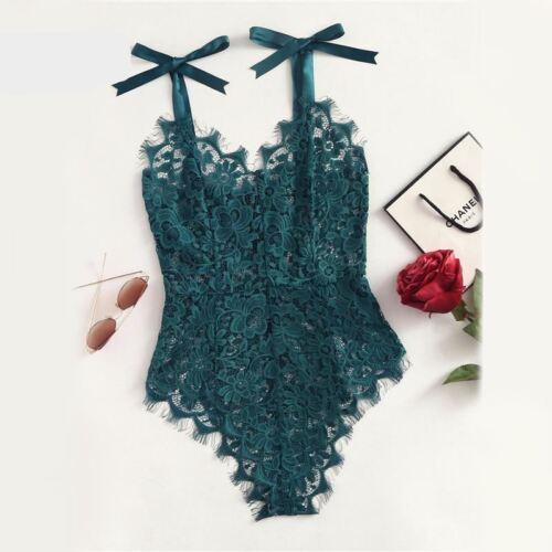 Ribbon Floral Lace Bodysuit Bow Tie Shoulder Women Green Summer Bodysuits