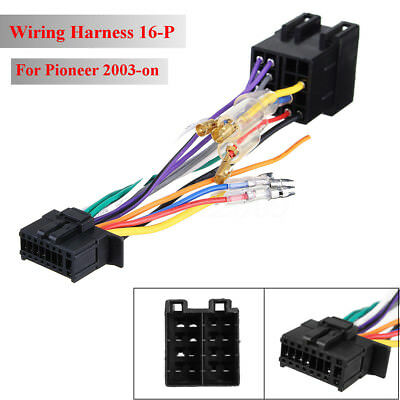 car stereo radio iso wiring harness connector 16 pin pi100 for pioneer ebay Fuel Tank Wiring Harness Plug