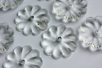 U PICK 10PCS VINTAGE STYLE FLOWER CRYSTAL CHANDELIER GLASS DROP CONNECTOR BEADS