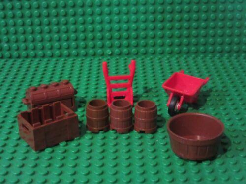 wheelbarrow barrels box chest Lot of LEGO minifigure accessories Red Hand Cart