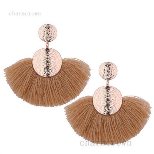 Femmes Mode Bohémien Bijoux Tassel Frange Boho Crochet Cristal Boucle d/'oreille