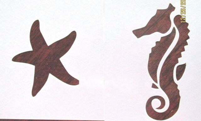 Seahorse and Starfish Stencil Pack Reusable 10 mil Mylar Stencil