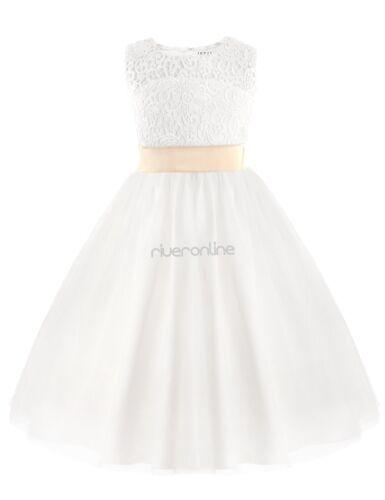 Enfants Filles Princesse Robe Demoiselles D/'honneur Mariage Robe de soirée corvée Blanc