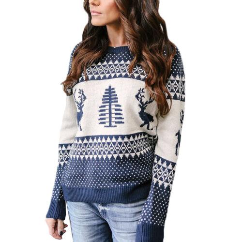 Damen Elk Strickpullover Sweater Karneval Pullover Jumper Strickpulli Top 40