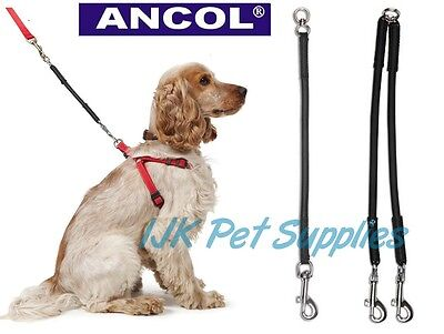 Ancol Bungee Shock Absorber Dog Lead Extension Single Couple Coupler dual