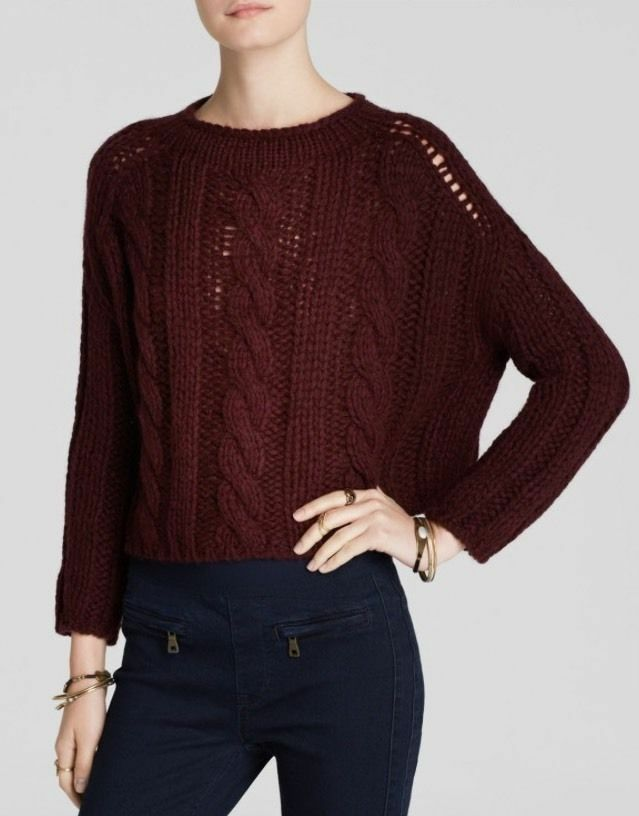 NEW✿ Free People Maribel Cable Sweater Sz S SHIRT TOP  Retail Cabernet Red
