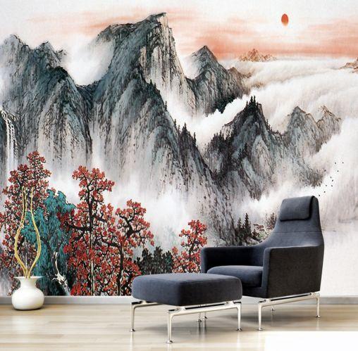3D Wolken in den Bergen 1445 Fototapeten Wandbild Fototapete BildTapete Familie