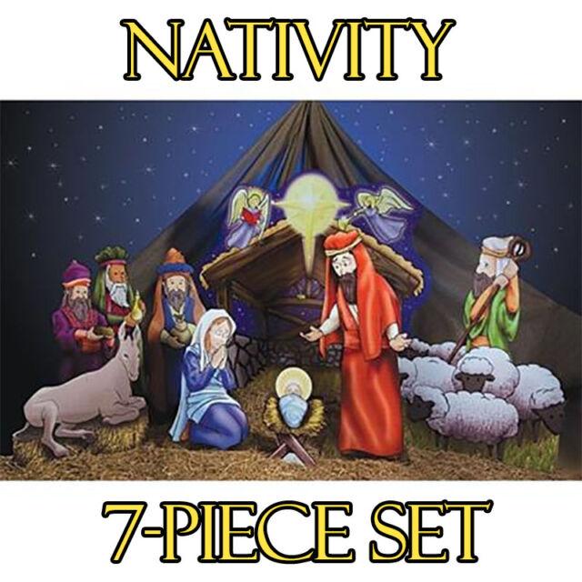 nativity set of cardboard cutout standees standups christmas manger scene fs