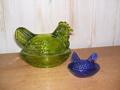 "5"" GREEN AND 2½"" BLUE SMALL HEN ON NEST GLASS CHICKEN EGG STORAGE TRINKET BOX"