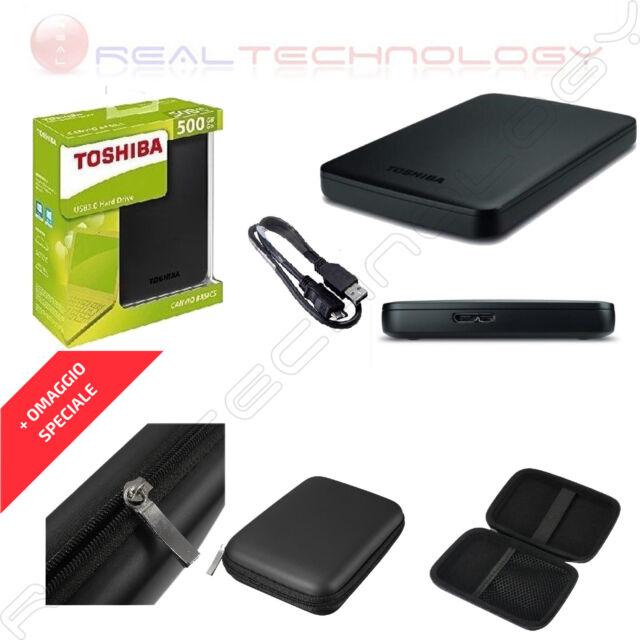 "HARD DISK ESTERNO 2,5"" 500GB TOSHIBA USB 3.0 NERO CON CUSTODIA HDTB105EK3AA"