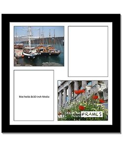 Creativepf 4 Opening Multi 8x10 Black Picture Frame W 20x20 White