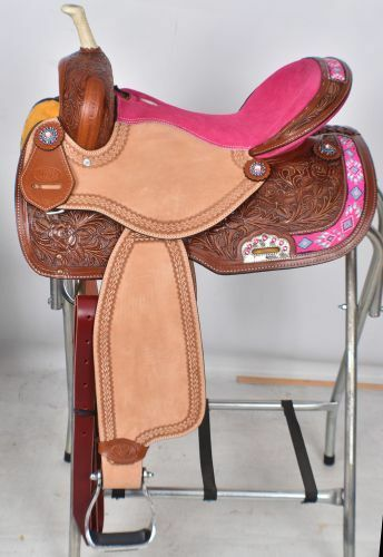 NEW 15  Circle  S Barrel Saddle with Floral Tooling with Hot Pink Seat  Full Bars  best reputation