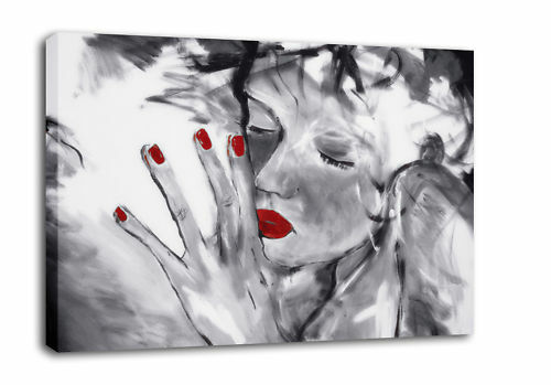 PAINTING ON CANVAS RED GREY /'I/'ve Missed You/' framed A2